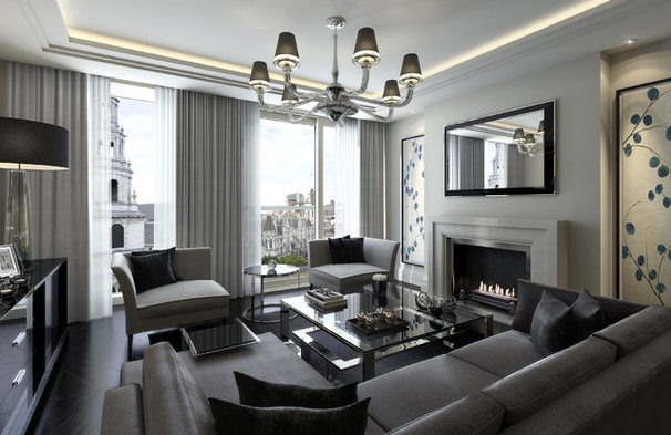 Transitional Living Room by CID Interieur