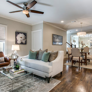 Living room - mid-sized craftsman formal and open concept living room idea in Dallas
