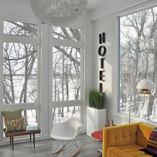 他の地域のミッドセンチュリースタイルのおしゃれなリビング (白い壁) の写真