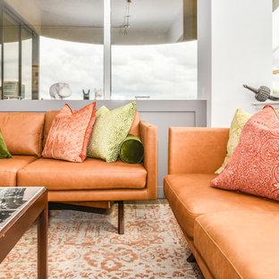 Ispirazione per un soggiorno moderno di medie dimensioni e aperto con pareti bianche, pavimento in gres porcellanato, nessun camino e pavimento grigio