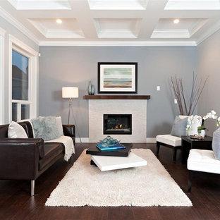 Idee per un soggiorno design con pareti grigie, parquet scuro e camino classico