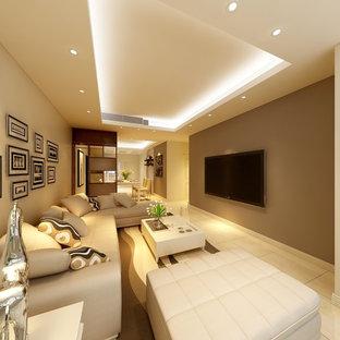 Diseño de salón para visitas cerrado, minimalista, pequeño, con paredes amarillas, suelo de baldosas de cerámica, pared multimedia y suelo amarillo