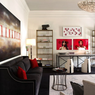 Living room - contemporary black floor living room idea in Atlanta with white walls