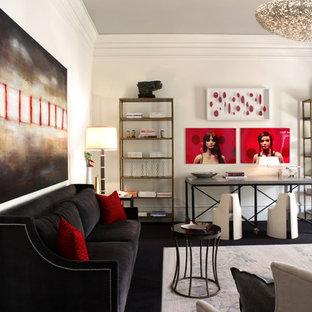 Exempel på ett modernt vardagsrum, med vita väggar och svart golv