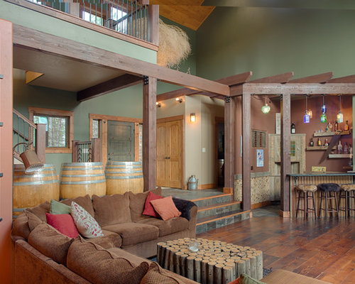 Example of a mountain style open concept dark wood floor living room design  in Boise with Rustic Paint Colors Houzz