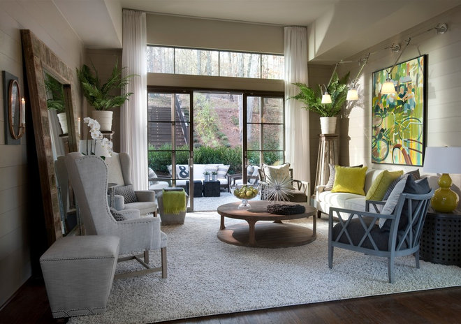Transitional Family Room by Kemp Hall Studio