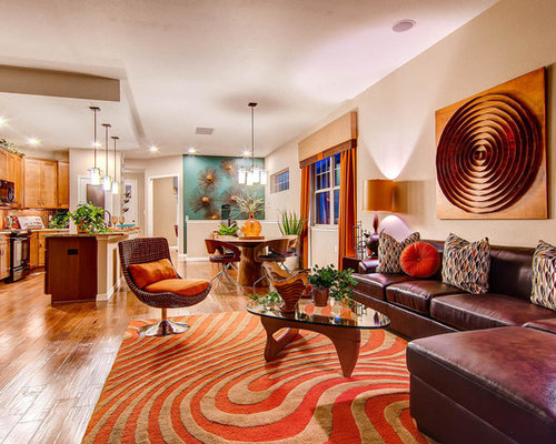 Orange and brown living room design ideas renovations - Orange and brown living room ideas ...