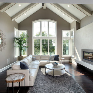 Living room - transitional living room idea in Grand Rapids with a concrete fireplace