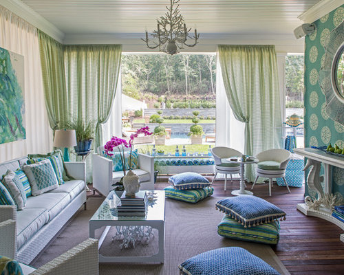 Inspiration For A Beach Style Living Room Remodel In New York With