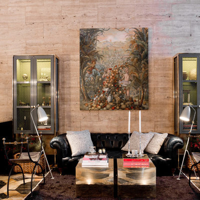 Living room - eclectic living room idea in New York with beige walls