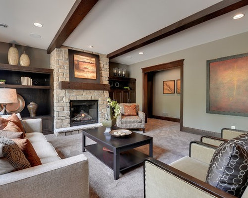 This Is An Example Of A Classic Living Room In Minneapolis With Beige Walls Carpet