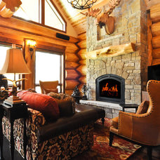 Traditional Living Room by Mountain Log Homes & Interiors