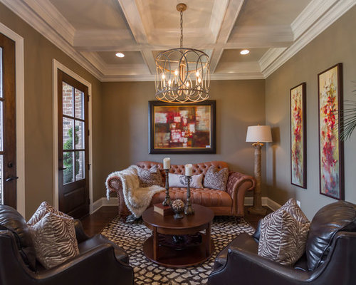 Inspiration For A Transitional Formal And Enclosed Living Room Remodel In  Nashville With Brown Walls