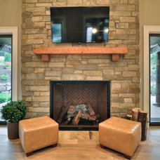Transitional Living Room by Brown Bros. Masonry