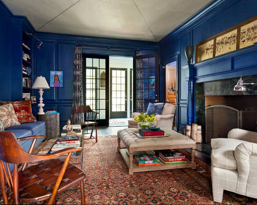 Cobalt Blue Living Room Design Ideas Remodels Photos Houzz