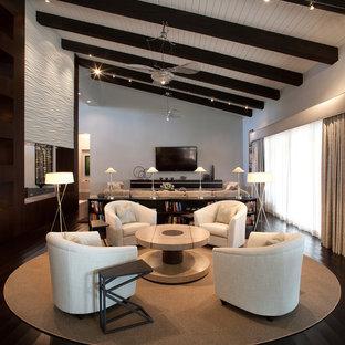 Modelo de salón con barra de bar abierto, actual, grande, con paredes grises, televisor colgado en la pared y suelo de madera oscura