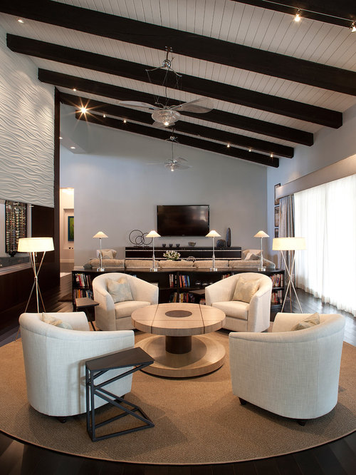 Example Of A Large Trendy Open Concept Dark Wood Floor Living Room Design In Phoenix With