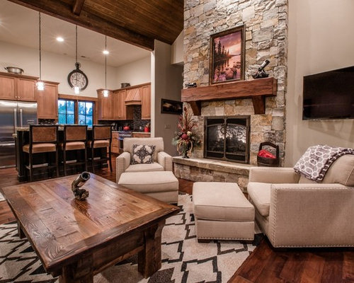 Mountain Style Open Concept Medium Tone Wood Floor Living Room Photo In Other With Gray Walls
