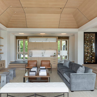 Example of a huge minimalist open concept and formal light wood floor living room design in Minneapolis with white walls, a standard fireplace and a stone fireplace