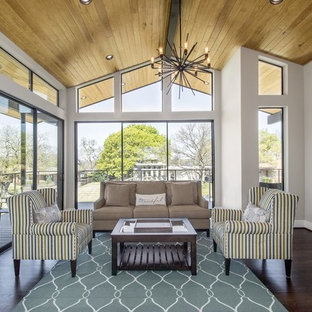 Mid-sized transitional formal dark wood floor living room photo in Dallas with gray walls