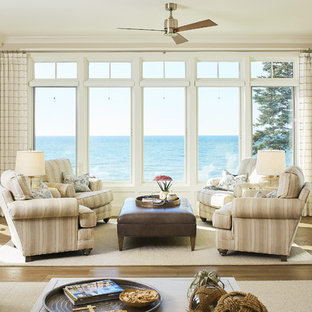 Living room - beach style living room idea in Grand Rapids