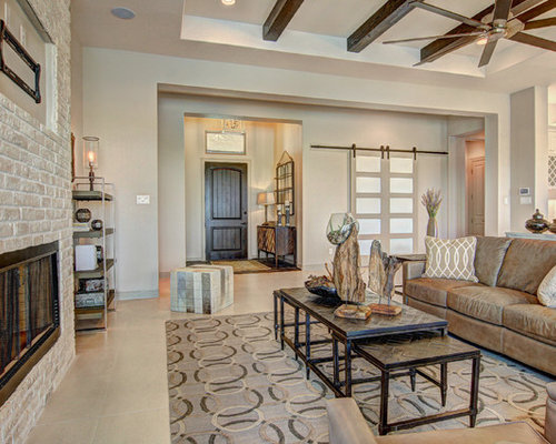 farmhouse living room ideas. Example of a country formal and open concept beige floor living room design  in Other with Best 30 Farmhouse Living Room Ideas Decoration Pictures Houzz