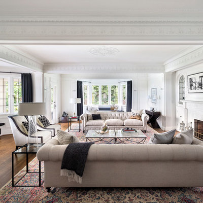 Elegant formal dark wood floor living room photo in Vancouver with white walls and a standard fireplace