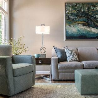 ルイビルの大きいトランジショナルスタイルのおしゃれなLDK (グレーの壁、無垢フローリング、標準型暖炉、石材の暖炉まわり、据え置き型テレビ、オレンジの床) の写真