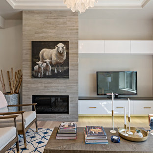 Inspiration for a transitional formal light wood floor and beige floor living room remodel in Boise with gray walls, a ribbon fireplace and a tv stand