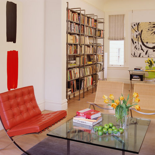 Inspiration For A Contemporary Living Room Remodel In San Francisco With A  Library, White Walls