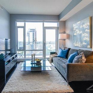 Foto di un piccolo soggiorno minimalista aperto con pareti blu, parquet scuro, nessun camino e TV autoportante