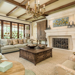 Living room - large traditional living room idea in Dallas with a standard fireplace and a concealed tv
