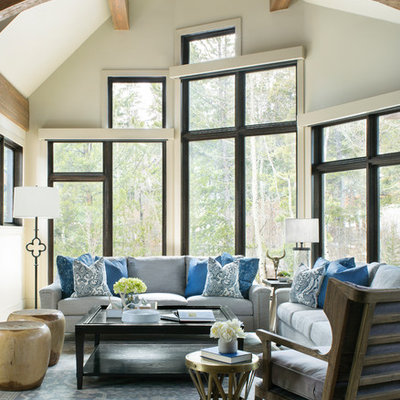 Inspiration for a rustic formal and open concept light wood floor living room remodel in Denver with gray walls