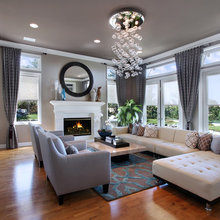 Gray rooms with an accent color