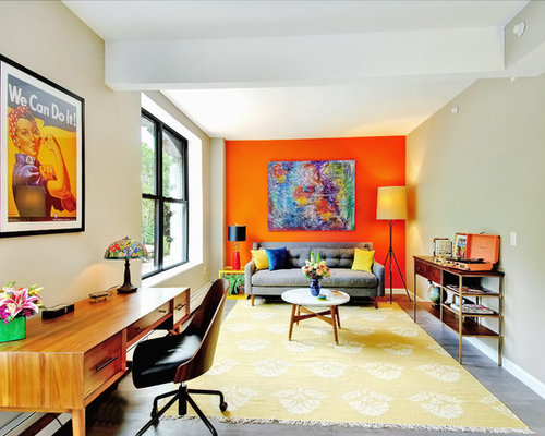 Living room design ideas remodels photos with orange for Orange walls living room designs