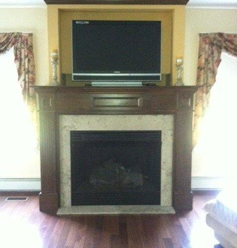"""AH 42"""" Vent Free Gas Fireplace with Custom Cabinet & Surround27510"""