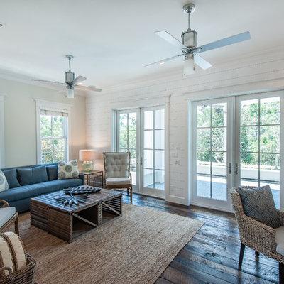 Living room - coastal dark wood floor living room idea in Miami with white walls
