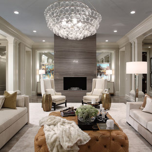 Living room - huge transitional living room idea in Miami with a standard fireplace