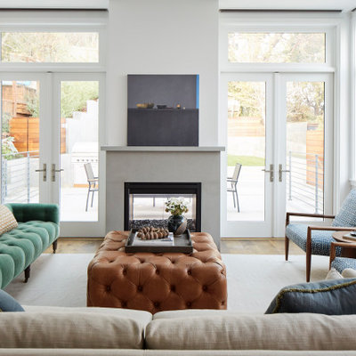 Inspiration for a large transitional formal light wood floor and beige floor living room remodel in San Francisco with white walls and a wall-mounted tv