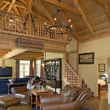 Rustic Living Room by Habitat Post & Beam, Inc.