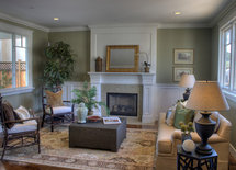 What tile/marble is used around the fireplace?