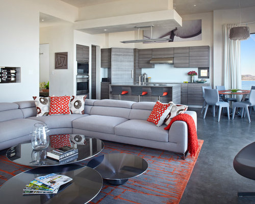 Example Of A Trendy Concrete Floor And Gray Floor Living Room Design In  Santa Barbara