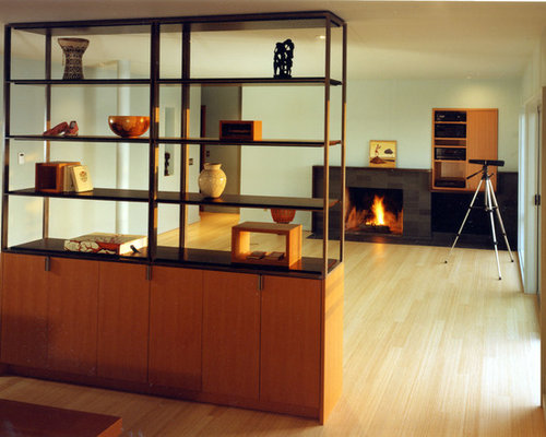 inspiration for a modern living room remodel in seattle with a standard fireplace - Room Dividers Ideas