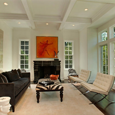 Inspiration for a contemporary living room remodel in Chicago with white walls and a standard fireplace