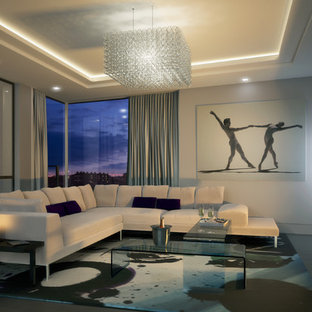 Design ideas for a contemporary living room in London with beige walls and a wall mounted tv.