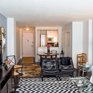 Foto di un piccolo soggiorno boho chic aperto con pareti blu