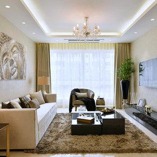 Ispirazione per un soggiorno design di medie dimensioni con sala formale, pavimento in marmo e TV a parete