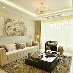 ムンバイの中サイズのコンテンポラリースタイルのおしゃれなリビング (フォーマル、大理石の床、壁掛け型テレビ) の写真