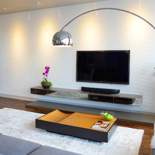 3D porcelain tile wall with recessed lights