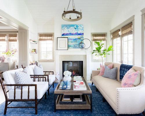 Beach Style Open Concept Medium Tone Wood Floor And Brown Floor Living Room  Idea In Los